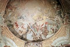Ausschnitt, östliche Seite: In der Mitte die Dreifaltigkeit, rechts von Apostel Paulus eine kriegerische Figur mit Kreuzesfahne die Ecclesia militans darstellend, Aufn. Schmidt-Glassner, Helga, 1943/1945