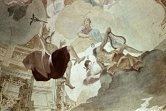 Ausschnitt oberhalb der Hauptszene: Merkur, Diana und Apollo, Aufn. Schmidt-Glassner, Helga, 1943/1945