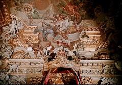 Westwand über dem Thronbaldachin, Pallas Athene mit Plänen: Festungsgrundriß und Fassade des Zeughauses, Aufn. Cürlis, Peter, 1943