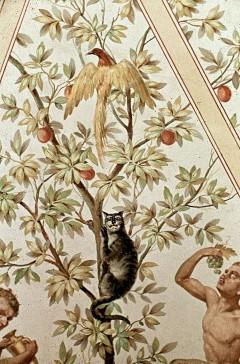 Ausschnitt, Katze und Vogel im Baum, Aufn. Cürlis, Otto, 1943/1945