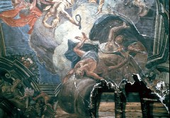 Stürzende Laster. Am Rahmen: Allegorische Darstellung des Erdteils Europa mit Modell des Frankfurter Römers, Aufn. Wolff, Paul, 1943/1944