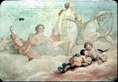 Ausschnitt: Calliope, Clio und Terpsichore mit zwei Puttender Bildhauerei und der Malerei, Aufn. Cürlis, Peter, 1943/1945