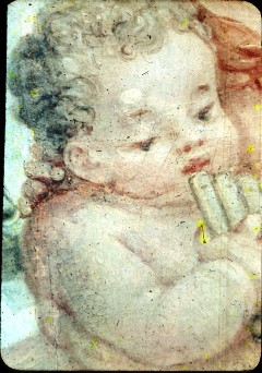 Ausschnitt: Euterpe mit zwei Putten, Ausschnitt: Kopf deslinken Puttos mit Panflöte, Aufn. Cürlis, Peter, 1943/1945