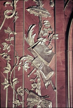 Detail: Papier und Blätter am rechten Paneel der Nordostwand, Aufn. Cürlis, Peter, 1943/1945