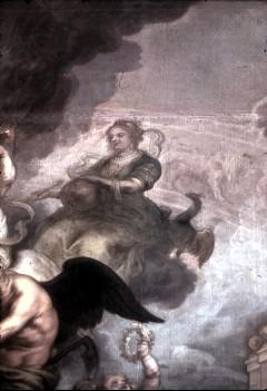 Ausschnitt: weibliche Allegorie mit Zepter, Weltkugel und Adler, Aufn. Cürlis, Peter Cürlis, Peter, 1943