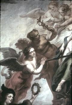 Ausschnitt: fliegende weibliche Allegorien links neben dem Kurfürsten, Aufn. Cürlis, Peter, 1943