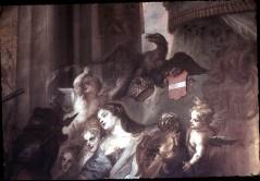 Ausschnitt: der brandenburgische Adler mit der preußischen Herzogskrone und dem Wappen, darunter Personifikation von Brandenburg, Aufn. Cürlis, Peter, 1943