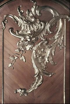 Detail: Rocaille an der Wandpaneele in der Fensterlaibung, wahrscheinlich rechte Seite unten, Aufn. Cürlis, Peter, 1943