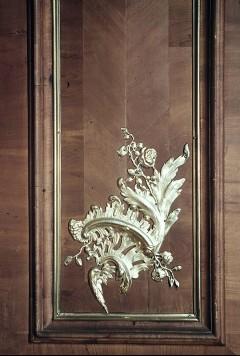 Detail: Rocaille an der Wandpaneele links neben dem Fenster, unterer Abschluß, Aufn. Cürlis, Peter, 1943