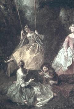 Ausschnitt: die Dame auf der Schaukel mit ihrer Gesellschaft, Aufn. Cürlis, Peter, 1943