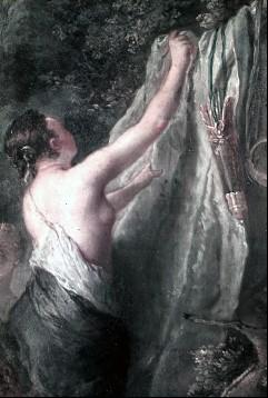 Ausschnitt: Nymphe beim Wäscheaufhängen, Aufn. Cürlis, Peter, 1943/1945
