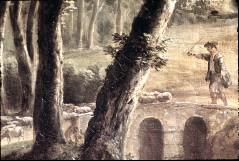 Ausschnitt: Hirte mit Schafen über einer Brücke, Aufn. Cürlis, Peter, 1943/1945