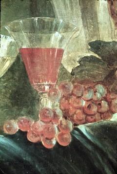 Ausschnitt: Glas und Weintrauben, Aufn. Cürlis, Peter, 1943/1945