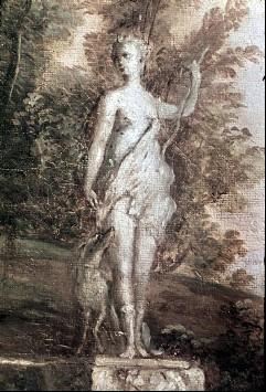 Ausschnitt: antike Statue einer Diana, Aufn. Cürlis, Peter, 1943/1945